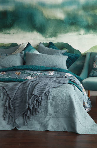 MM Linen Allegra Bluestone Bedspread Set / Euro Pillowcases sold separately