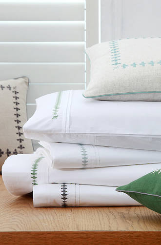 MM Linen French Bee  Green  Sheet Set/Pillowcases Sold Separately