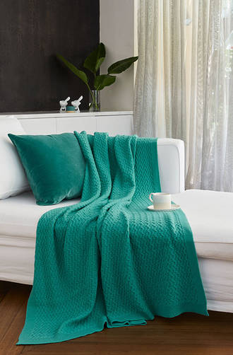 Baksana - Cheviot Lambswool Blanket/Throw Emerald