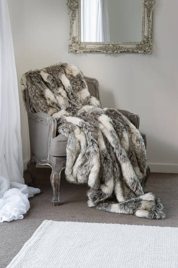 Heirloom Exotic Faux Fur Throw/Cushion - Mountain Wolf
