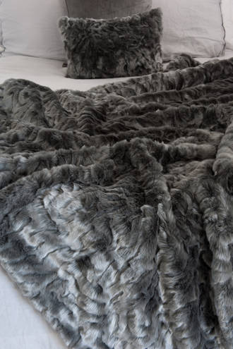 Heirloom Exotic Faux Fur Throw/Cushion - Pewter Chinchilla