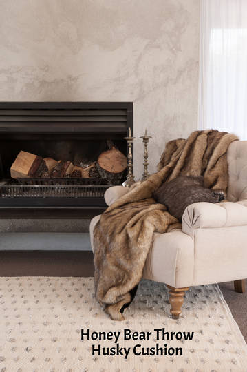 Heirloom Exotic Faux Fur Cushion / Throw  - Honey Bear