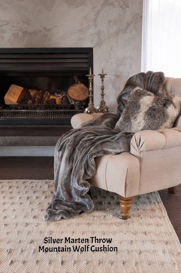 Heirloom Exotic Faux Fur Cushion / Throw  -  Silver Marten