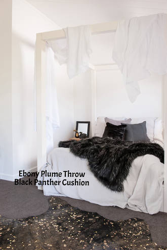 Heirloom Exotic Faux Fur Cushion / Throw  -  Ebony Plume
