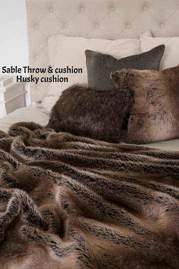 Heirloom Exotic Faux Fur Cushion / Throw  -  Sable