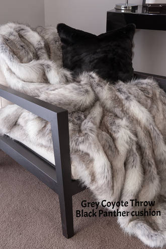 Heirloom Exotic Faux Fur Cushion / Throw -  Grey Coyote