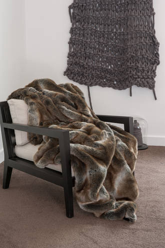 Heirloom Exotic Faux Fur Throw/Cushion - Striped Elk