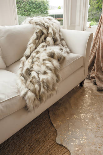 Heirloom Exotic Faux Fur Cushion/ Throw - Snowshoe Hare