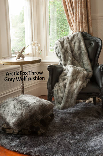 Heirloom Exotic Faux Fur Cushion / Throw -  Arctic Fox