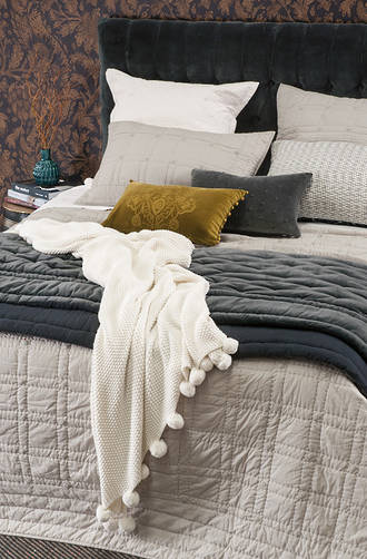 Bianca Lorenne Finola Oyster Bedspread / Pillowcases - Sold Separately