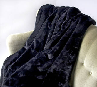 Heirloom Exotic Faux Fur Cushion / Throw  - Black Panther