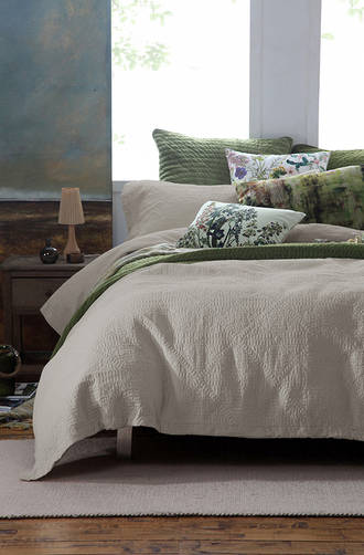 MM Linen Jolie Oyster Quilted Duvet Cover Set