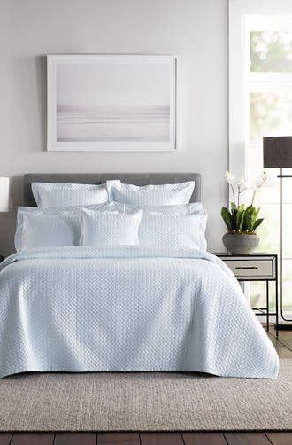 Sheridan Lancet Soft Blue Bedspread / Pillowcases & Cushions Sold Separately