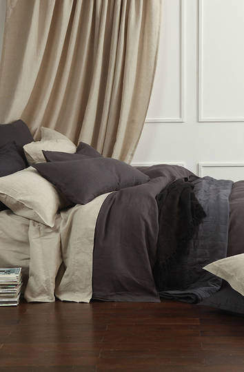 MM Linen - Laundered Linen Duvet Cover Set -Charcoal