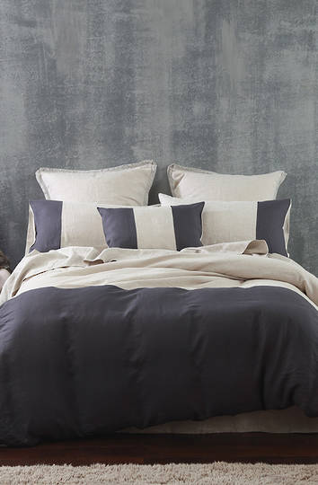MM Linen - Laundered Linen Panel Duvet Cover Set / Cushion