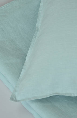 MM Linen - Laundered Linen Duckegg Duvet Cover Set / Extra Pillowcase & Euro Sets Sold Separately