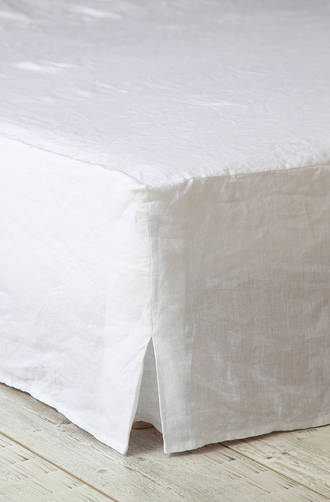 MM Linen Laundered Linen White Bed Skirt/Valance
