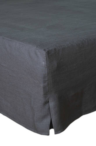 MM Linen Laundered Linen Charcoal Bed Skirt/Valance