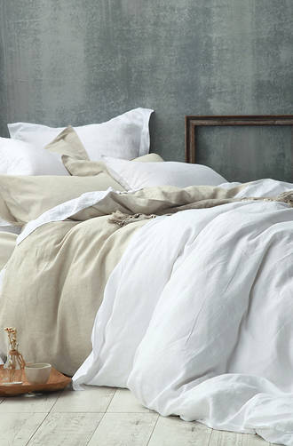 MM Linen - Laundered Linen Natural Duvet Cover Set / Extra Pillowcase & Euro Sets Sold Separately