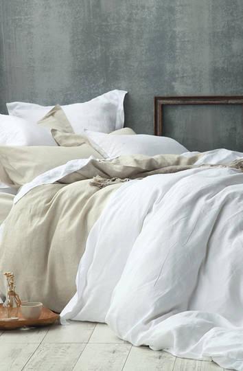 MM Linen - Laundered Linen Duvet Cover Set - White