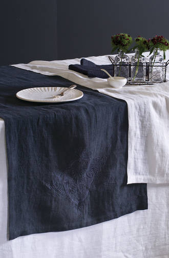 Bianca Lorenne Monogram Charcoal Table Linen