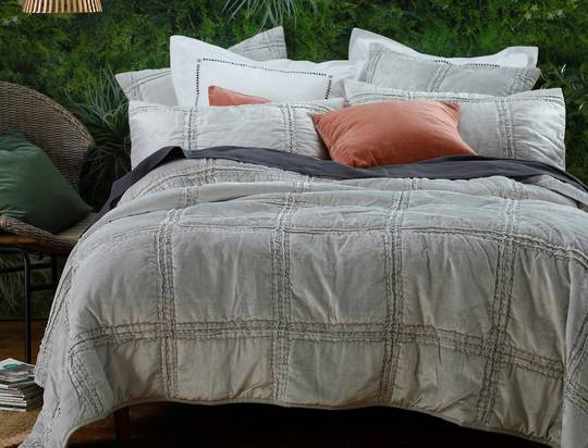 MM Linen - Velutto Comforter & Coverlet - Silver