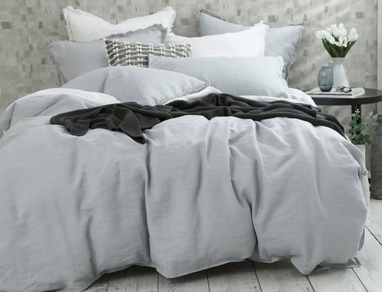 MM Linen - Laundered Linen Duvet Set - Pewter