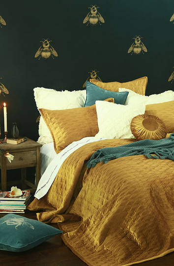 MM Linen - Aurum Quilted Bedspread Set -  Gold