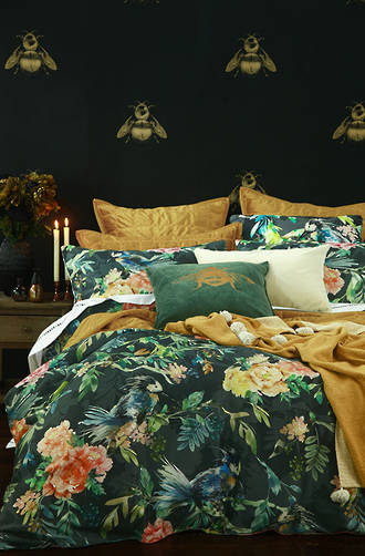 MM Linen - Kiku Duvet Cover Set / Kiku Euro Pillowcase Cotton Velvet Set