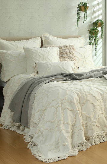 MM Linen - Clover Ivory Bedspread Set / Eurocase Set Sold Separately