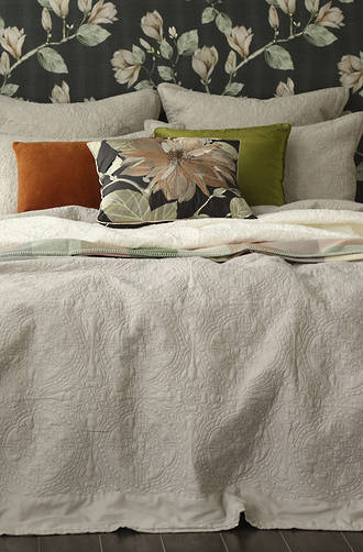 MM Linen - Carlotta Natural Quilted Bedspread Set/ Eurocase Set (1 Pair) Sold Separately