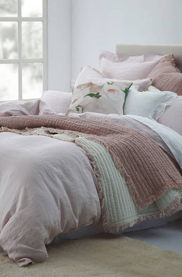 MM Linen - Laundered Linen Duvet Cover Set - Blush