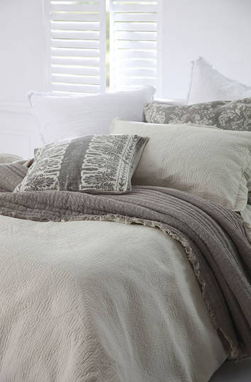 MM Linen -  Tali Cotton Throw & Cushion - Taupe