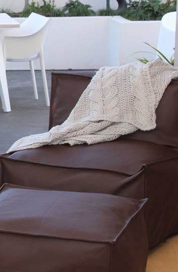 MM Linen - Guernsey Knit Throw - Natural