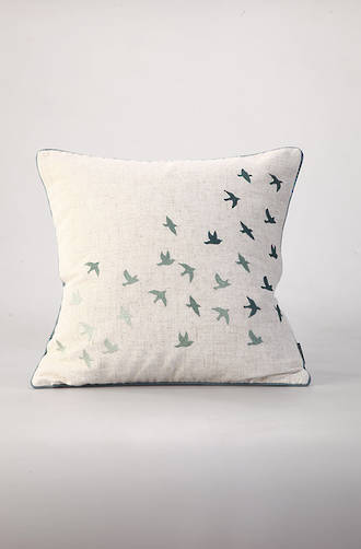 MM Linen - Flock of Birds Embroidered Cotton Cushion