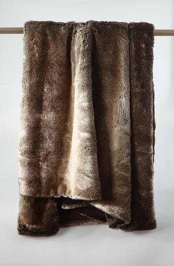 MM Linen - Snug Faux Fur Throw - Chocolate