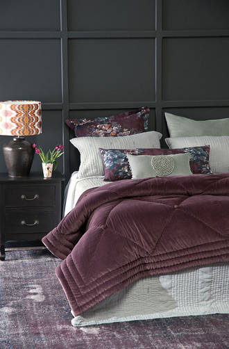 Bianca Lorenne Petipa Aubergine Comforter and Cushion