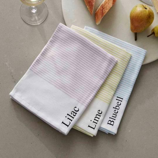 Baksana - Thirsty Tea Towels - Bluebell/Lime/Lilac