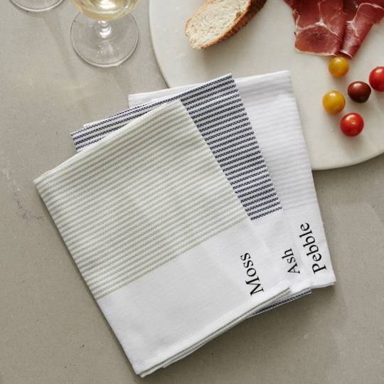 Baksana - Thirsty Tea Towels - Pebble/Ash/Moss