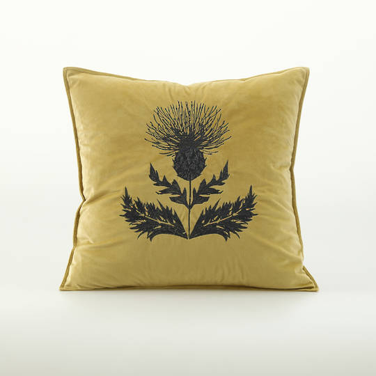 MM Linen - Thistle Cushion - Raffia