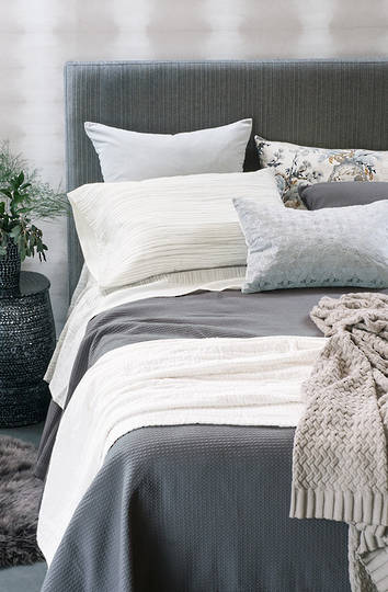 Bianca Lorenne Valentina Slate Bedspread / Pillowcases - Sold Separately