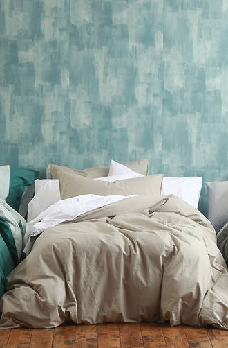 MM Linen - Washed Cotton Duvet Cover Set Sand & White
