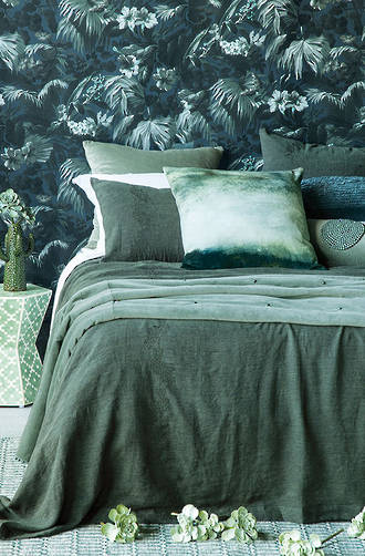 Bianca Lorenne Bellota Pine Linen Bedspread / Pillowcases Sold Separately