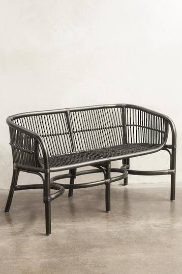 Bianca Lorenne - Campania Black/Brown Wash Rattan Bench