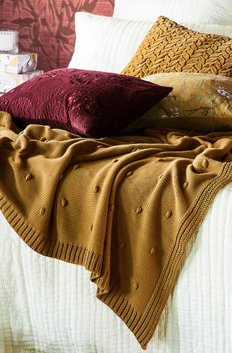 Bianca Lorenne - Fronzolo Dark Ochre Knitted Throw
