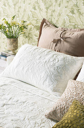Bianca Lorenne Grandiflora Ivory Bedspread / Pillowcases - Sold Separately