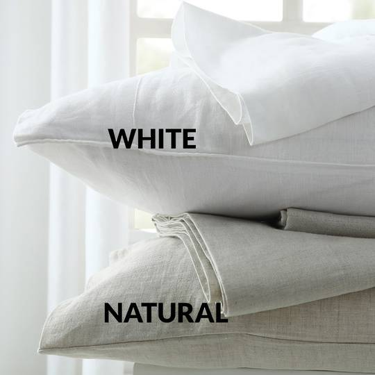 MM Linen - Laundered Linen White Sheet Set