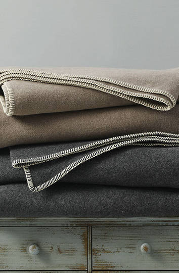 MM Linen - Wellshead NZ Wool  Blanket - Taupe