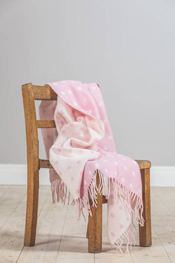 Importico - Foxford Lambswool Throw - Pink Spot Baby Throw