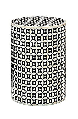 Bianca Lorenne Bone Inlay Eye Design Black/Ivory Side Table / Stool